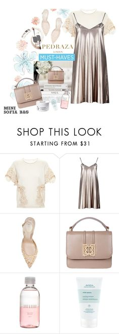 """- Happy & Shiny with PEDRAZA -"" by iamnotsuperman-ak ❤ liked on Polyvore featuring Chloé, Boohoo, René Caovilla, Lord & Berry, Aveda, Diptyque, PedrazaLondon and Pedraza"