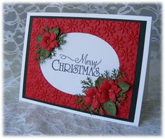 Handmade MERRY CHRISTMAS Card with stunning red 3D poinsettias. $3.95, via Etsy.