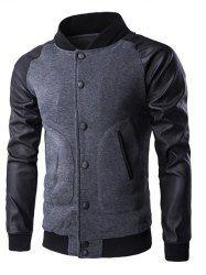 Button Up PU Leather Insert Raglan Sleeve Jacket - DEEP GRAY