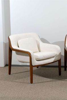 $6400 HEIGHT:29 in. (74 cm) WIDTH:30 in. (76 cm) DEPTH:30 in. (76 cm) SEAT HEIGHT:18 in. (46 cm) DEALER LOCATION:Atlanta, GA Restored Pair of Bill Stephens Walnut Lounge Chairs in Cream Leather | From a unique collection of antique and modern lounge chairs at https://www.1stdibs.com/furniture/seating/lounge-chairs/