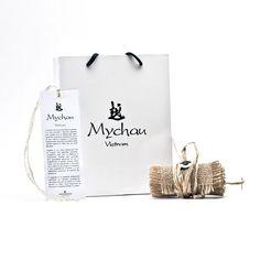 """Mychau - Bracciale Vietnam """"Manh Mai (slim)"""" originale realizzato con pietre naturali. Packaging"""