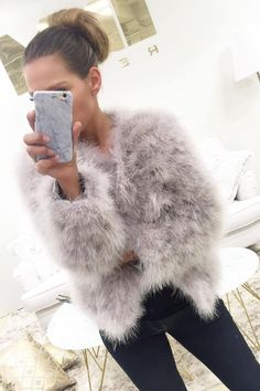 aff01d827d6 Fluffy Ostrich Feather Marabou Fur Jacket in Light Grey in 2019 ...