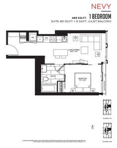 Spacious 2 Bedroom Admiral Towers Toronto Condo Floor Plan
