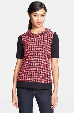 love this colorful tweed top