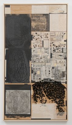 Stephen Talasnik - Hyroglyphs, 2010  acrylic, collage and woodcut on panel  84 x 42 in.