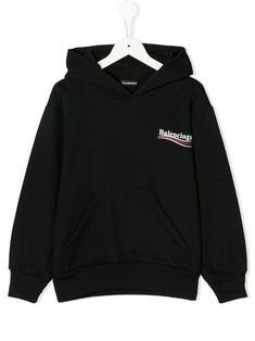 Black cotton blend logo-print long-sleeved hoodie from Balenciaga Kids featuring dropped shoulders, long sleeves, a hood, a kangaroo pocket, a ribbed hem and cuffs and a relaxed fit. Balenciaga Gifts, Hoodie Outfit, My Outfit, Baby Boy Outfits, Kids Outfits, Trendy Hoodies, Kids Fashion Boy, Kids Logo, Color Negra