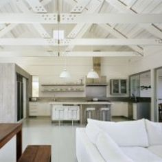 Exposed trusses and a clean aesthetic