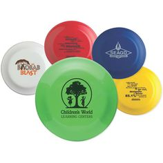 """Crown Flyer - Made from biodegradable plastic, these 9"""" flying discs are ideal for promoting a wide range of businesses! Proudly made in the USA they come in many vibrant colors and can be imprinted with your company name, logo or message. Toss them out during sporting events, charity fundraisers and school activities or use as an eye-catching tradeshow giveaway. An environmentally friendly promotional product to help your brand """"soar""""!"""
