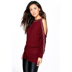 Boohoo Imogen Studded Cold Shoulder Jumper ($26) ❤ liked on Polyvore featuring tops, sweaters, wine, wrap sweater, party jumpers, red sequin top, red jumper and sequin sweater