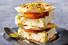 Pineapple & Ice Cream Filo Stacks -- Cream 'n crunch double-decker ice-cream stacks are a delicious way to lick the heat over the summer. Summer Recipes, My Recipes, Dessert Recipes, Cooking Recipes, Cream Recipes, Sweet Desserts, Just Desserts, Delicious Desserts, Pineapple Ice Cream