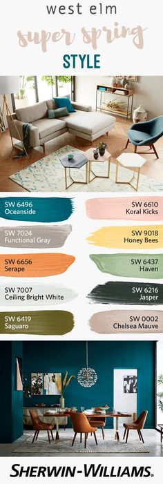 Spring cleaning, meh. But spring decorating? Bring it on! And what better way to freshen up your house than with seasonal colors designed to coordinate with @WestElm's latest collections of furniture and decor? Whether in search of the perfect neutral, like Functional Gray SW 7024 or Chelsea Mauve SW 0002, or on the hunt for bold colors, like Oceanside SW 6496 or Serape SW 6656, the West Elm Spring/Summer 2017 palette features a range of hues you'll love.