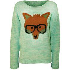 a4cf0bca6ecc Forever Women's Long Sleeve Animal Fox Print Knit Motif Jumper ($8.03) ❤  liked on