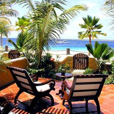 Plantation Lazy Chairs at The Harbour Village Beach Club - Private enclave on the Dutch Caribbean island of Bonaire