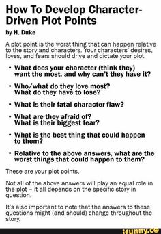 6 Questions To A Character-Driven Plot Answer these questions for all your protagonists, antagonists, and supporting characters. Make a note whenever one character's interests conflict with another's. Play up these conflicts in your writing. Book Writing Tips, Creative Writing Prompts, Writing Words, Fiction Writing, Writing Resources, Writing Help, Writing Skills, Writing Ideas, Writing Comics