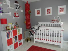I love these colors together and how the red just pops! NOT for a nursery...maybe kitchen, living or dining room