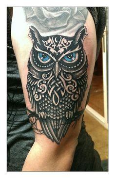 Owl tattoo on arm, rudy acosta, clovis ink tattoo, clovis california.