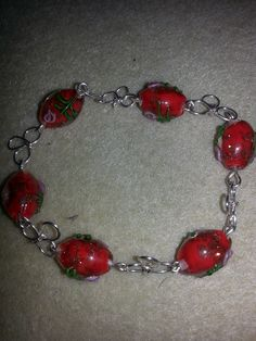 glass bead and wire bracelet
