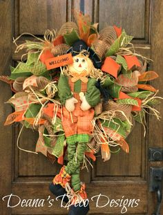 Fall Scarecrow Deco Mesh Wreath by DeanasDecoDesigns on Etsy