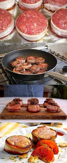 Medalhões de Filé com Bacon #Filé #comida #culinaria #gastromina #receita #receitas #receitafacil #chef #receitasfaceis #receitasrapidas A Food, Good Food, Food And Drink, Yummy Food, Chef Recipes, Grilling Recipes, Dinner Recipes, Bacon, Beef