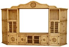Lampasas entertainment center.  The extra-long middle console provides a beautiful stand for your TV and there's plenty of cabinet and shelf space on either side to store DVDs, videos, CDs, or books.  The side towers slope back for a clean Southwest look to your living room.  The fine Mexican workmanship is evident in the extra-large bonnet top and distressed finish.  Also available in other configurations.   LaFuente.com