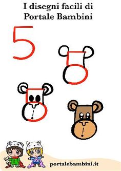 Cute Drawings For Kids, Drawing Lessons For Kids, Easy Drawings, Art Lessons, Toddler Crafts, Crafts For Kids, Number Drawing, Art Plastique, Kids Learning