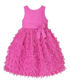 Loving this Passion Pink Floral Skirted Bow A-Line Dress - Toddler & Girls on #zulily! #zulilyfinds