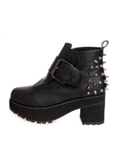 Casual Non Slip Chunky Heel Black Ankle Boots with Rivet with cheap wholesale price, buy Casual Non Slip Chunky Heel Black Ankle Boots with Rivet at wholesaleitonline.com !