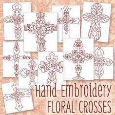 Hand Embroidery Patterns - Redwork Designs - Floral Crosses in 4 Sizes - PDF - Instant Download by HandEmbroideryDesign on Etsy https://www.etsy.com/listing/223470814/hand-embroidery-patterns-redwork-designs