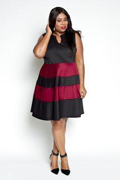 13a92728364 Plus Size Clothing for Women - Jessica Kane Skater Dress - Black/Marsala ( Sizes 14 - - Society+ - Society Plus - Buy Online Now!