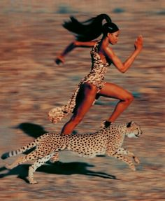 Naomi Campbell running faster than a cheetah.