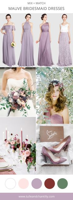 mauve wedding color ideas with mismatched bridesmaid dresses