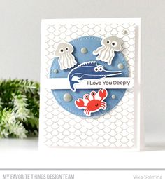 Handmade card from Vika Salmina featuring Ocean Fun stamp set and Die-namics #mftstamps
