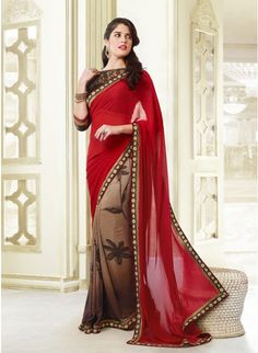 Alluring Brown & Red Embroidered #Saree #designersarees #clothing #womenswear #womenapparel #ethnicwear
