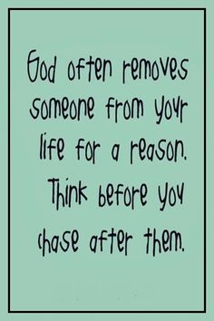 God often removes someone . . .