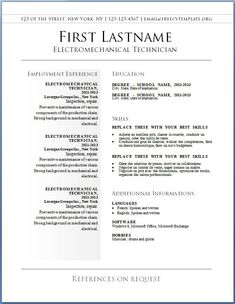 Free Resume Templates Free CV Templates To 42 U2013 Free CV Template Dot Org