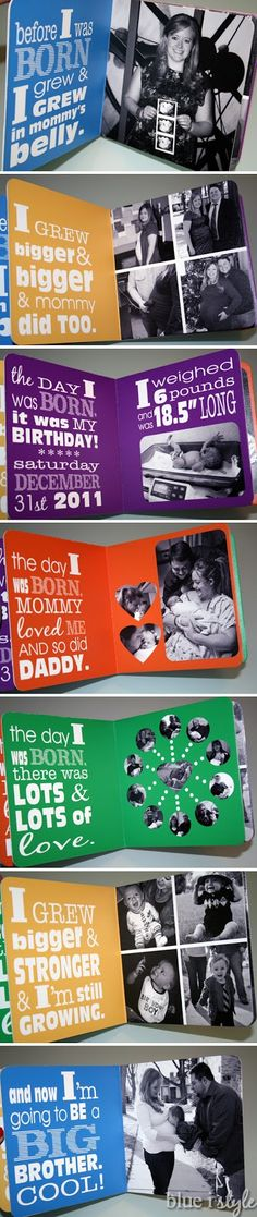 "Blue i Style: {gifts with style} Beckett's Big Brother Kit I printed the book using the custom board book printing option through Pint Size Productions.  I am thrilled with the results and look forward to making many more custom board books for my boys, including Cooper's own ""On the Day I was Born"" book."