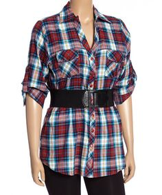 Another great find on #zulily! Red & Teal Plaid Button-Up - Plus #zulilyfinds