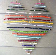 Twigs, paint, wire, and a little bit of love.  #weddingideas  #DIYwedding #heart #DIY  #love