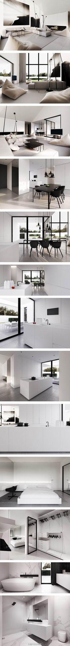 华沙一座住宅,只用简单的黑白两色装饰,黑色永恒经典,白色不可或缺