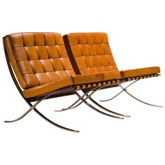 Barcelona Chairs in Saddle leather by Mies van der Rohe for Knoll International | From a unique collection of antique and modern chairs at https://www.1stdibs.com/furniture/seating/chairs/