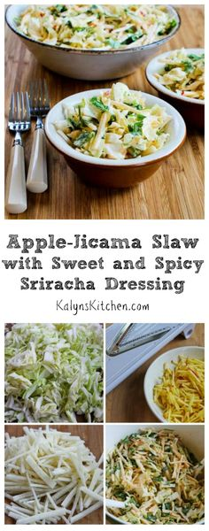 This Apple-Jicama Slaw with Sweet and Spicy Sriracha Dressing is a perfect side dish for Mother's Day or any summer holiday get-together.  This combination is unusual, but delicious! [from KalynsKitchen.com]