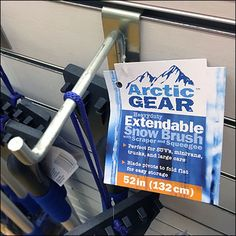 Don't forget your cold-weather Arctic Gear® says, this 12 foot run of store-exit Slatwall fully stocked with a variety of ice scrapers, snow brushes, windshield squeegees, and compact emergency sno. Slat Wall, Shovel, Arctic, Cold Weather, Brushes, Gears, Hooks, Compact, Forget