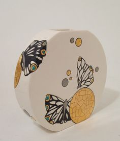 "Collection ""Mrs Butterfly"" Emaux de Longwy vase plat pm"