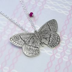 Etched butterfly pendant with ruby | Australian handmade jewellery by Simone Walsh