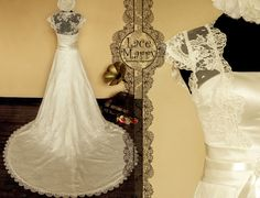 Vintage Inspired Lace Wedding Dress Features Cap by LaceMarry