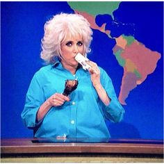 Kristen Wiig from Bridesmaids, dressed as Paula Deen on an SNL skit. NAILED IT!
