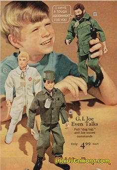 GI Joe Advert - My brother had the one with the beard. I was always swiping him for dates with my Barbie lol Retro Advertising, Vintage Advertisements, Vintage Ads, Vintage Stuff, Gi Joe, Barbie Vintage, Vintage Dolls, Childhood Toys, Childhood Memories