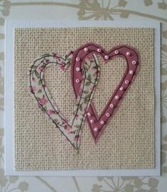 Embroidery Ideas Hearts Card More - Embroidery Cards, Free Motion Embroidery, Embroidery Patterns, Wedding Embroidery, Fabric Postcards, Fabric Cards, Freehand Machine Embroidery, Free Machine Embroidery, Wedding Cards Handmade