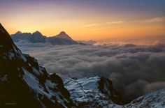 View to sunset  behind the Zugspitze in an altitude of 2374 meters - near from Meilerhütte (analog slide)