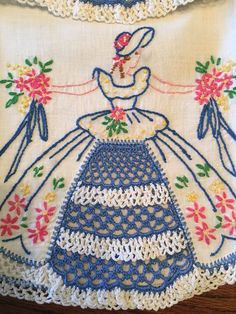 "Vintage Hand Embroidered & Crocheted ""Southern Belle"" Pillowcase Set"